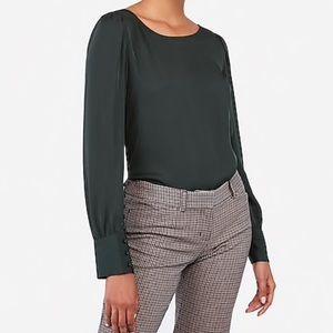 Green Puff Sleeve Button-Cuff Top | Express L